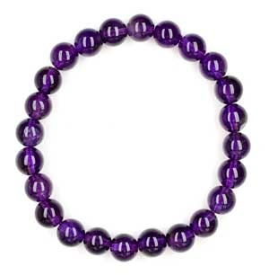 Amethyst Bead Bracelet for Crown Chakra Healing