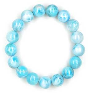 Larimar Beaded Bracelet for Throat Chakra Healing